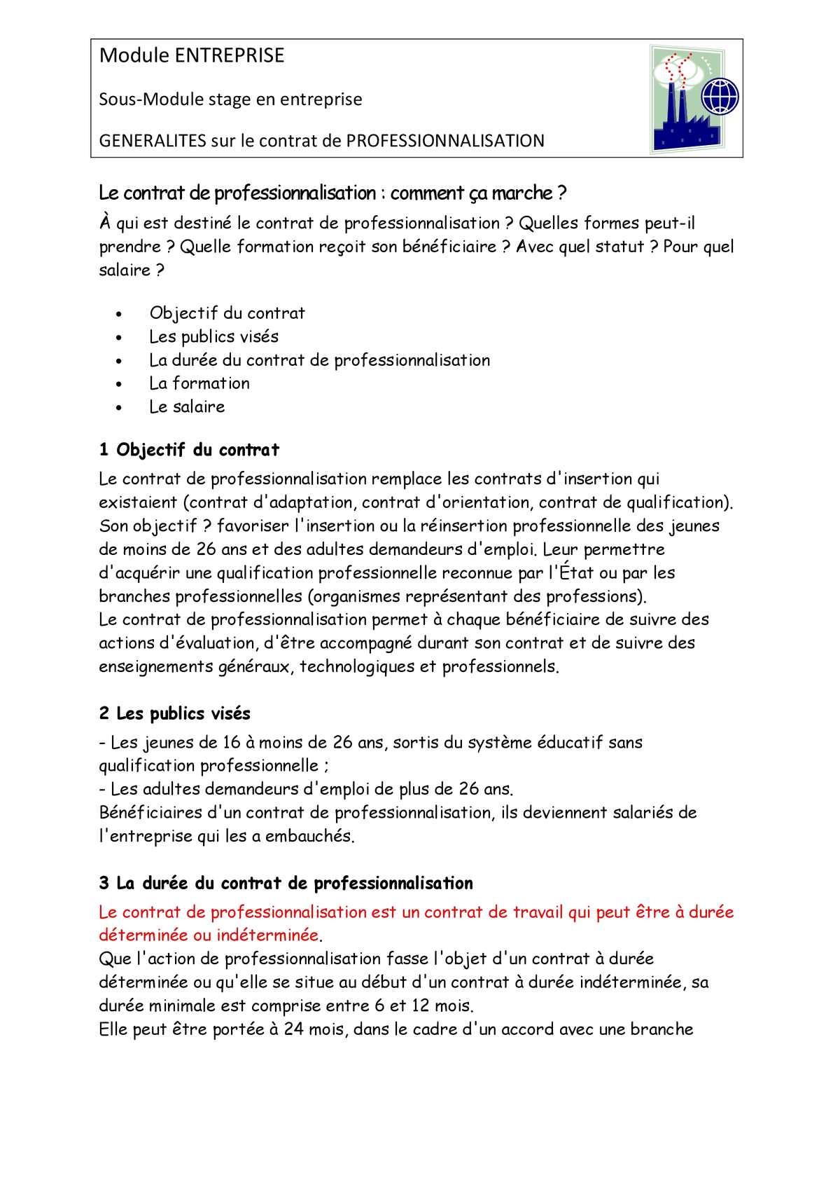Calameo Generalites Sur Le Contrat De Professionnalisation