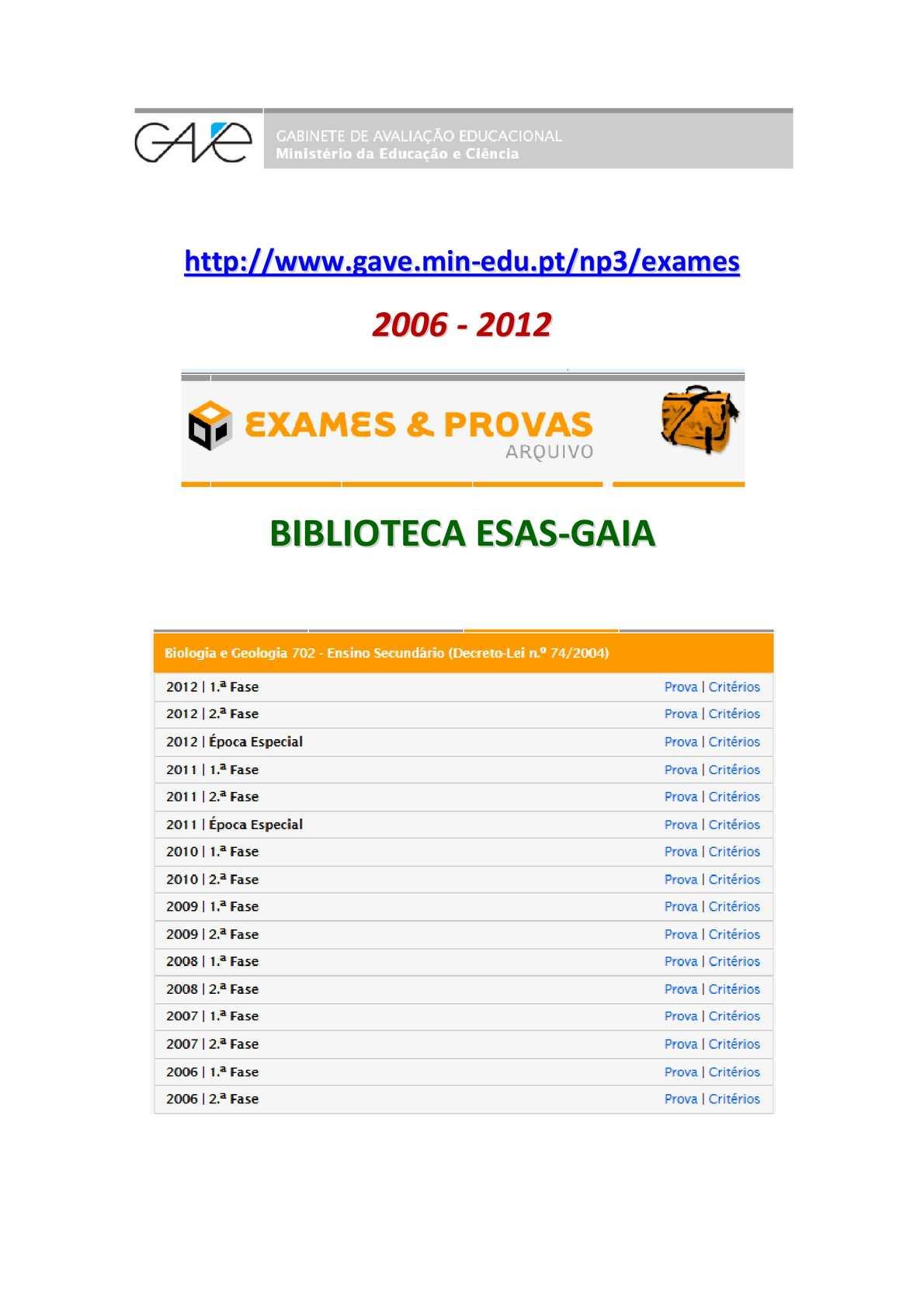 Exames Nacionais de BIOLOGIA E GEOLOGIA - enunciados e critérios - 2006/12