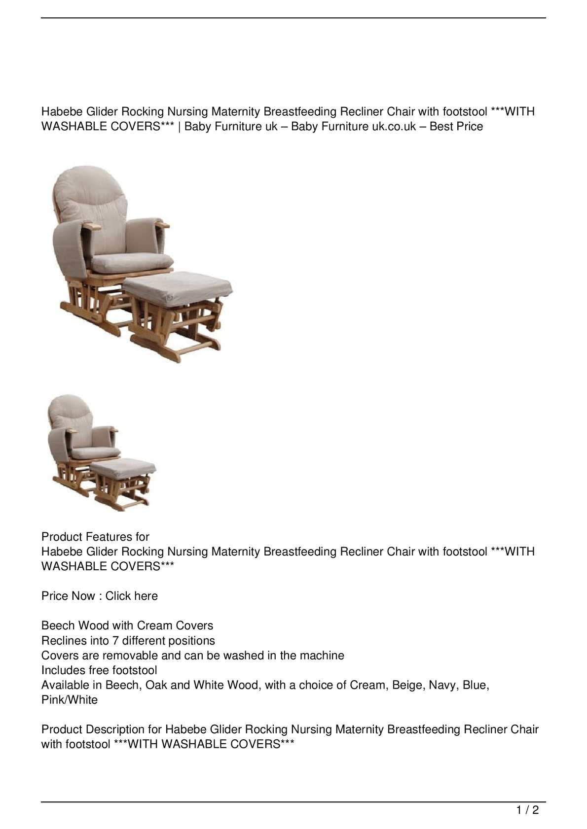 Calaméo - Habebe Glider Rocking Nursing Maternity Breastfeeding Recliner Chair with footstool ***WITH WASHABLE COVERS*** Get Rabate  sc 1 st  Calameo & Calaméo - Habebe Glider Rocking Nursing Maternity Breastfeeding ...