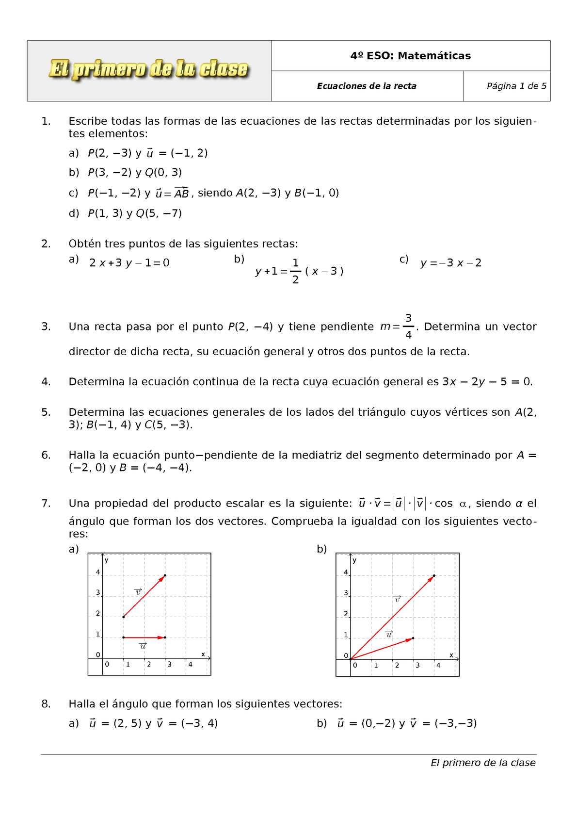 Calaméo - 4 ESO. Ejercicios de Matemáticas: ecuaciones de la recta II