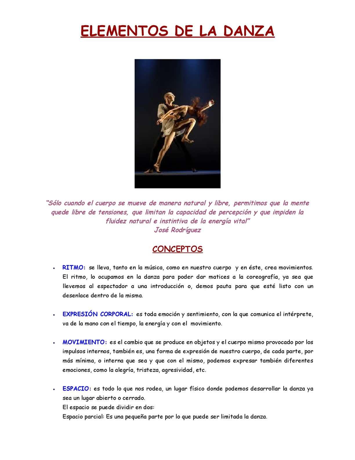La Danza y sus elementos
