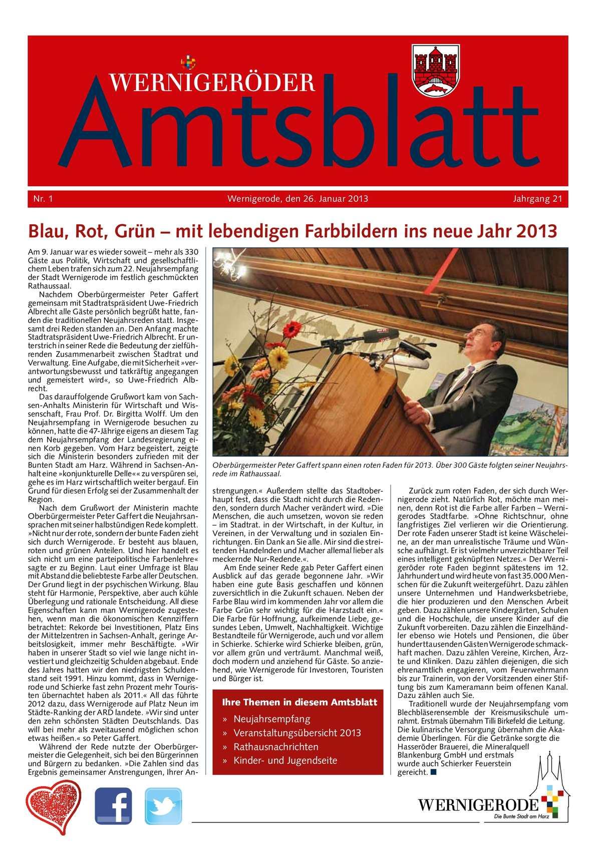 Calaméo - Amtsblatt der Stadt Wernigerode - Ausgabe 1 / 2013