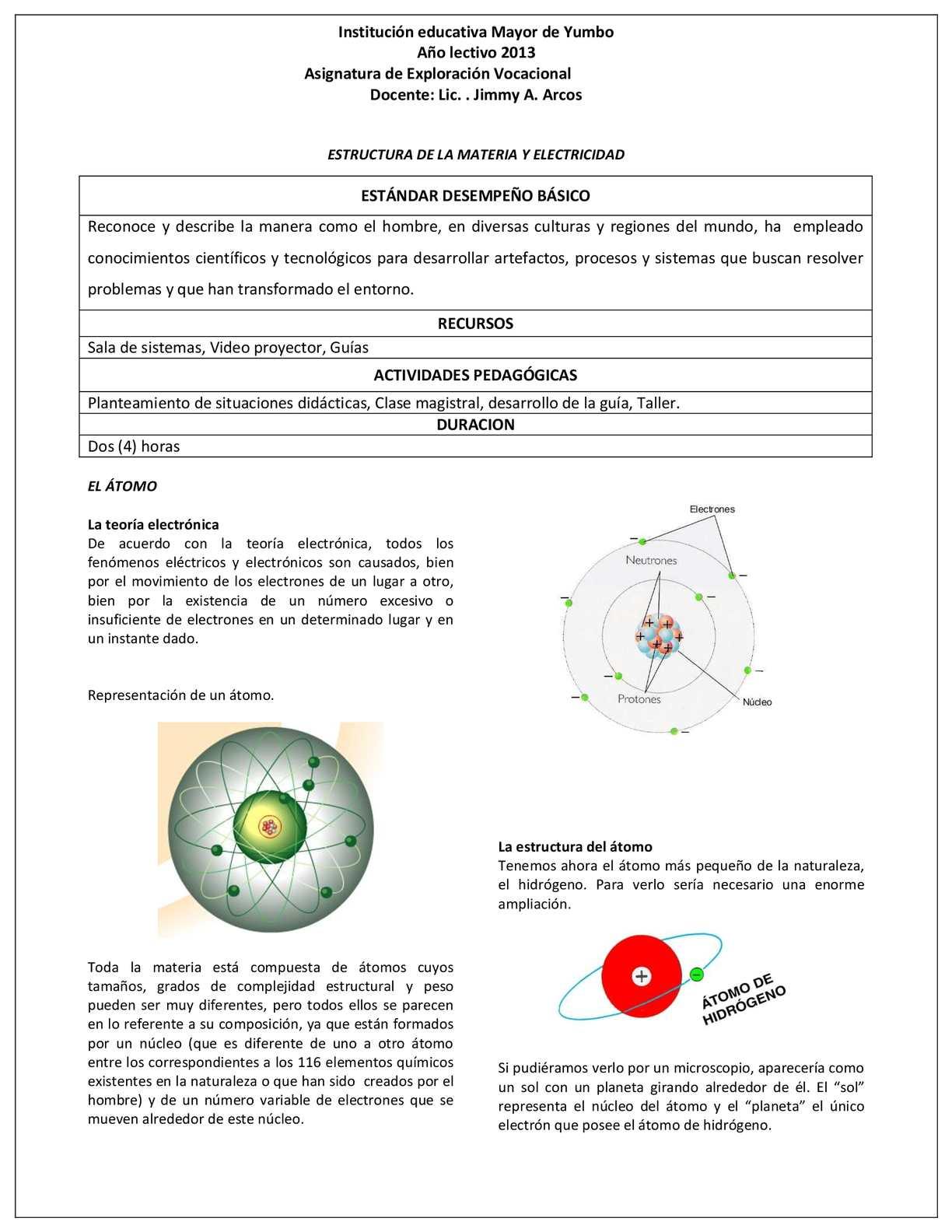 1. GUIA ESTRUCTURA DE LA MATERIA Y ELECTRICIDAD