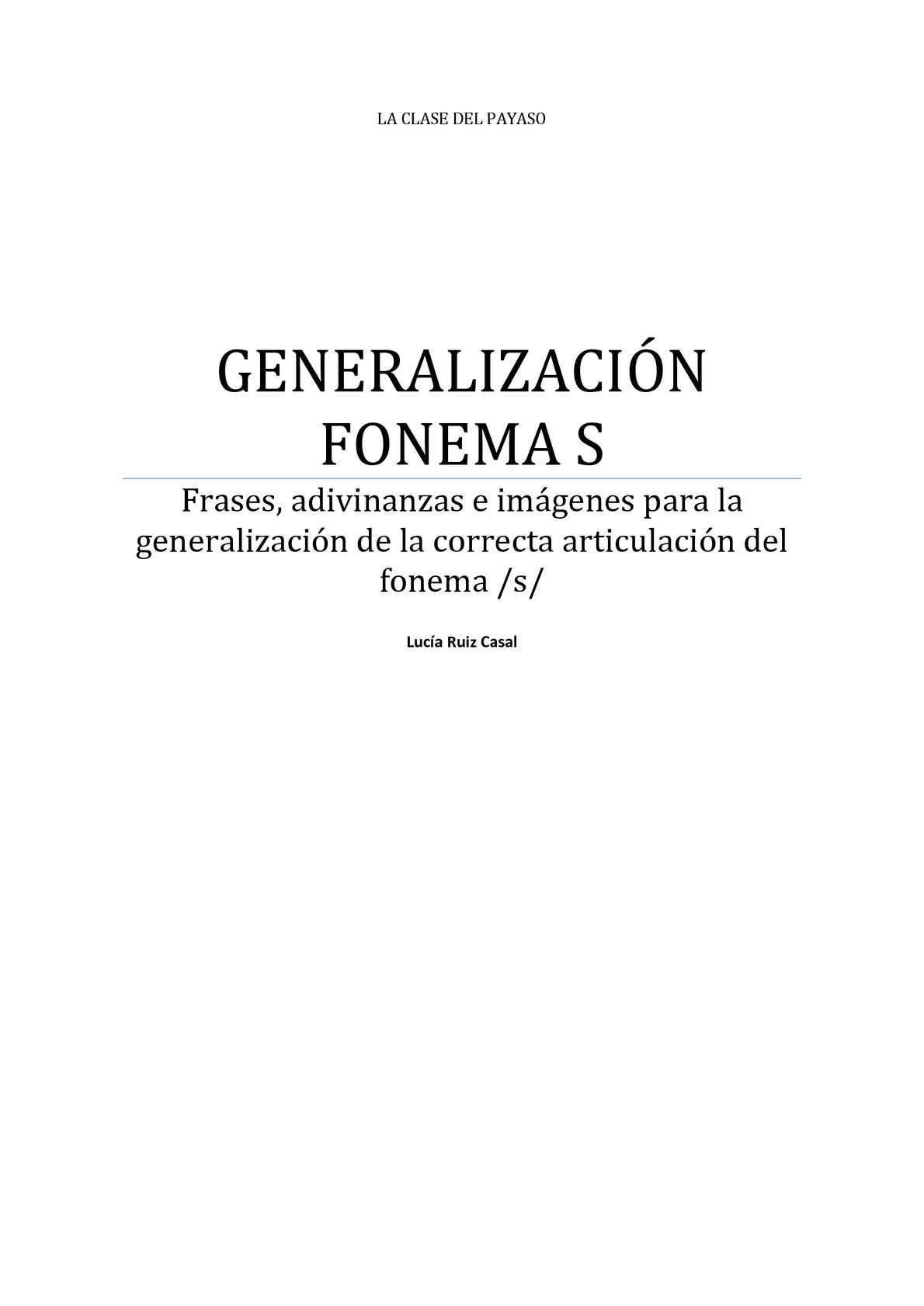 GENERALIZACIÓN FONEMA /S/