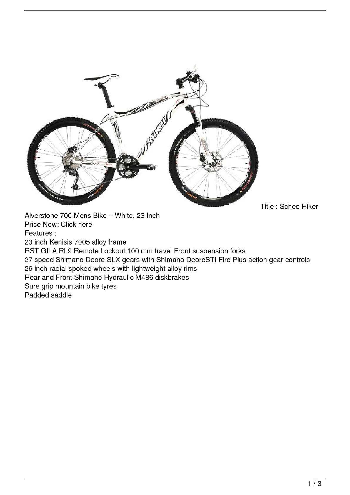 Calaméo - Schee Hiker Alverstone 700 Mens Bike – White, 23 ...