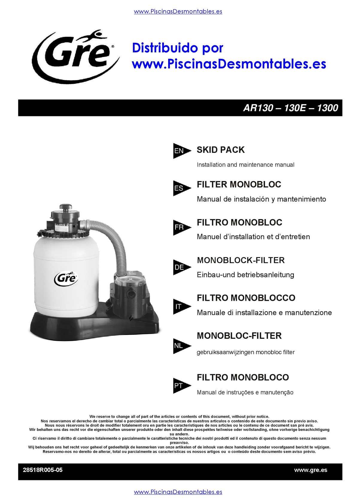 Manual de Instrucciones Depuradoras Gre AR130 - 130E - 1300
