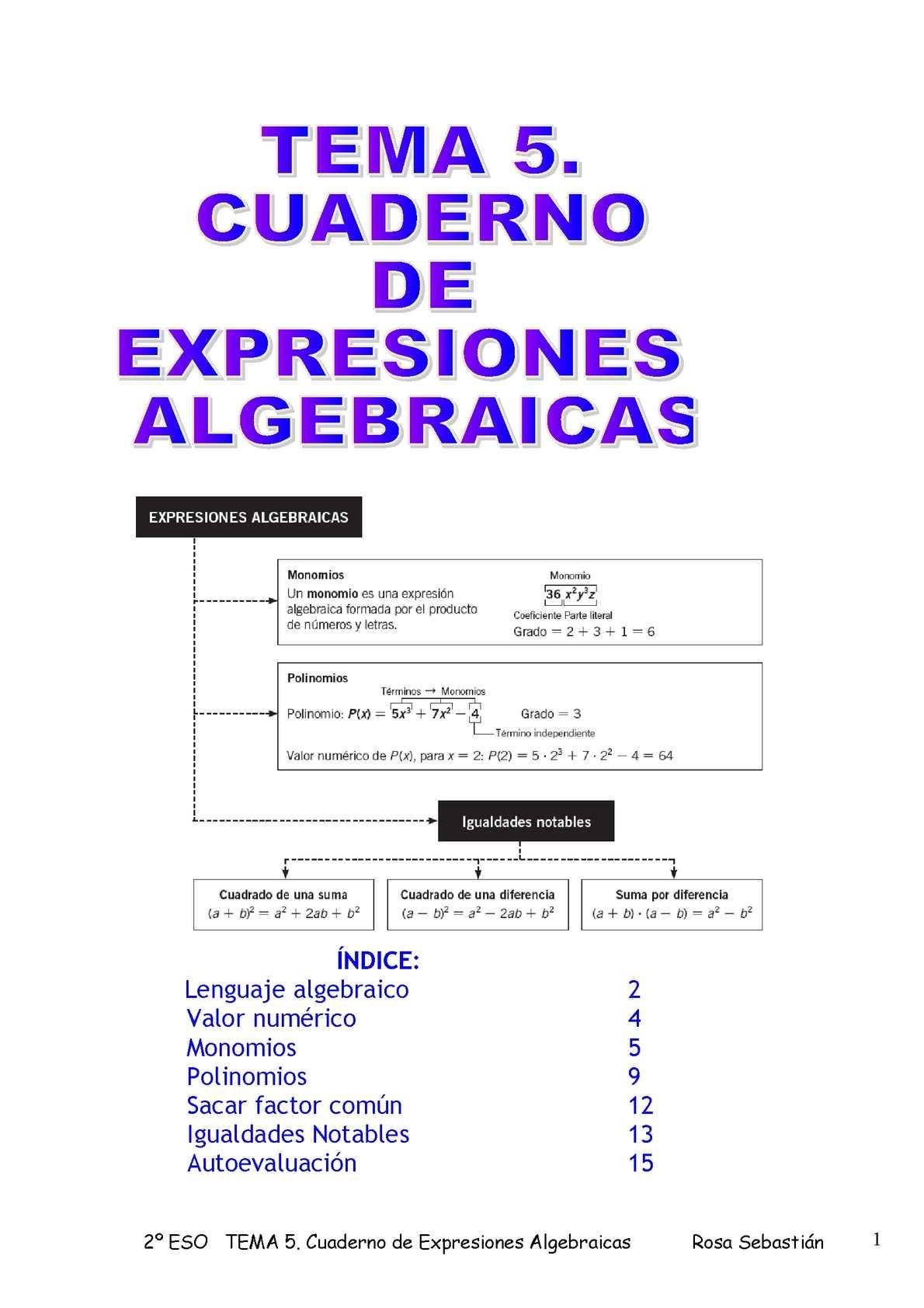 cuaderno de EXPRESIONES ALGEBRAICAS