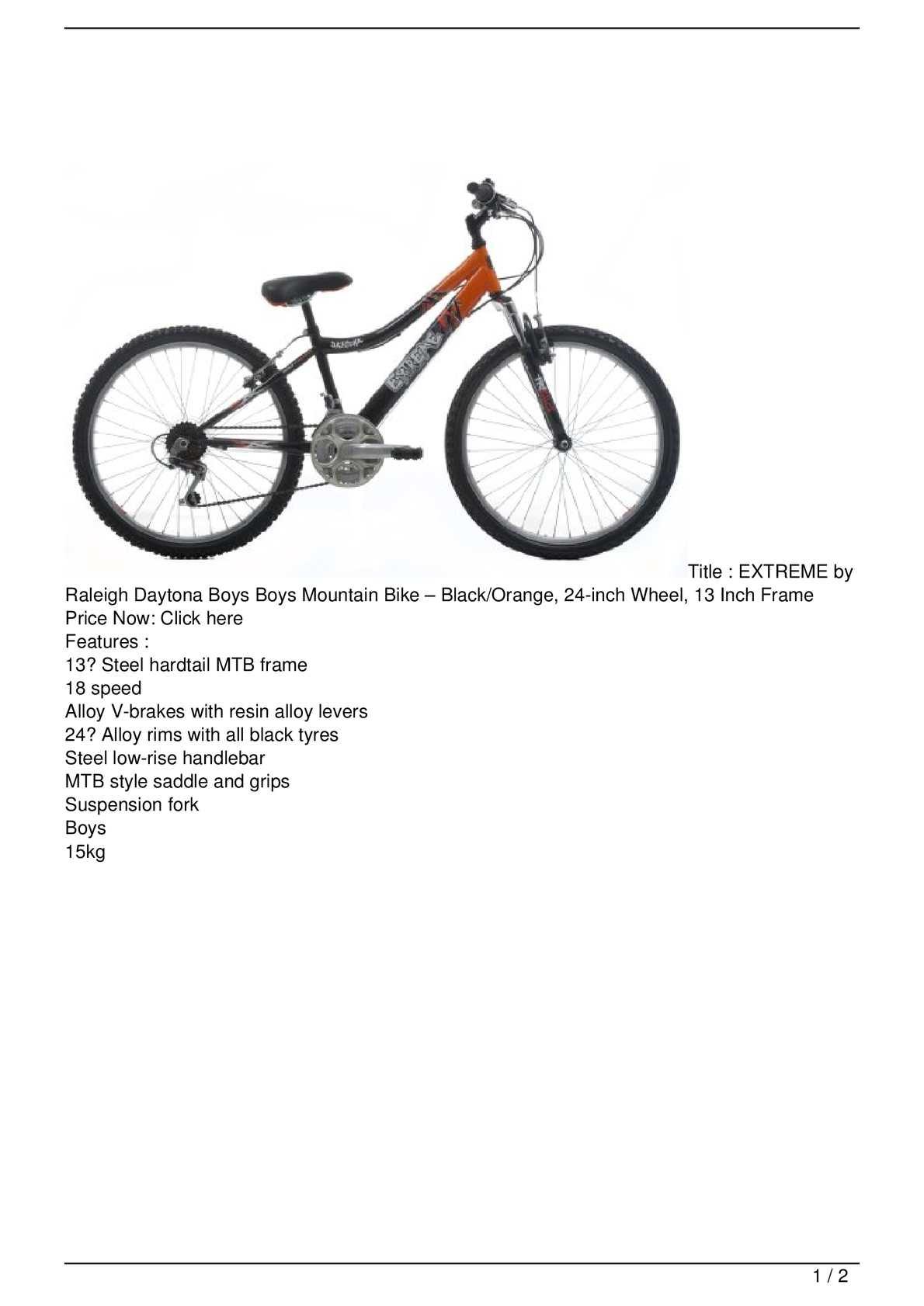 Calaméo - EXTREME by Raleigh Daytona Boys Boys Mountain Bike &#8211 ...