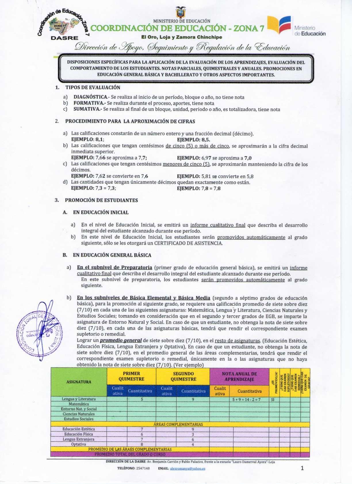 Instructivo de evaluacion quimestral.