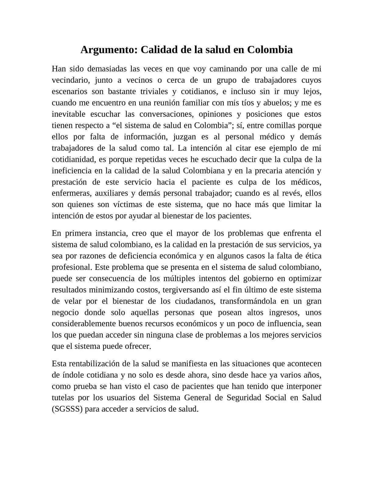 Calaméo - Ensayo sobre la calidad de la salud en Colombia