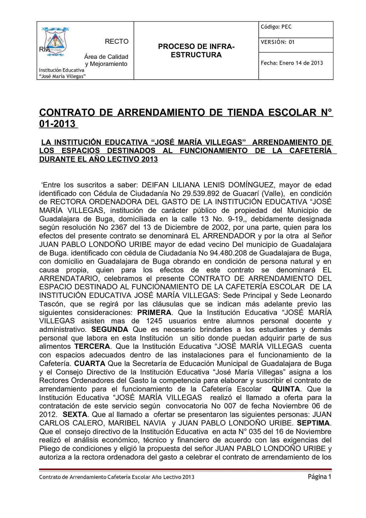 Calaméo - CONTRATO - TIENDA ESCOLAR - 2013