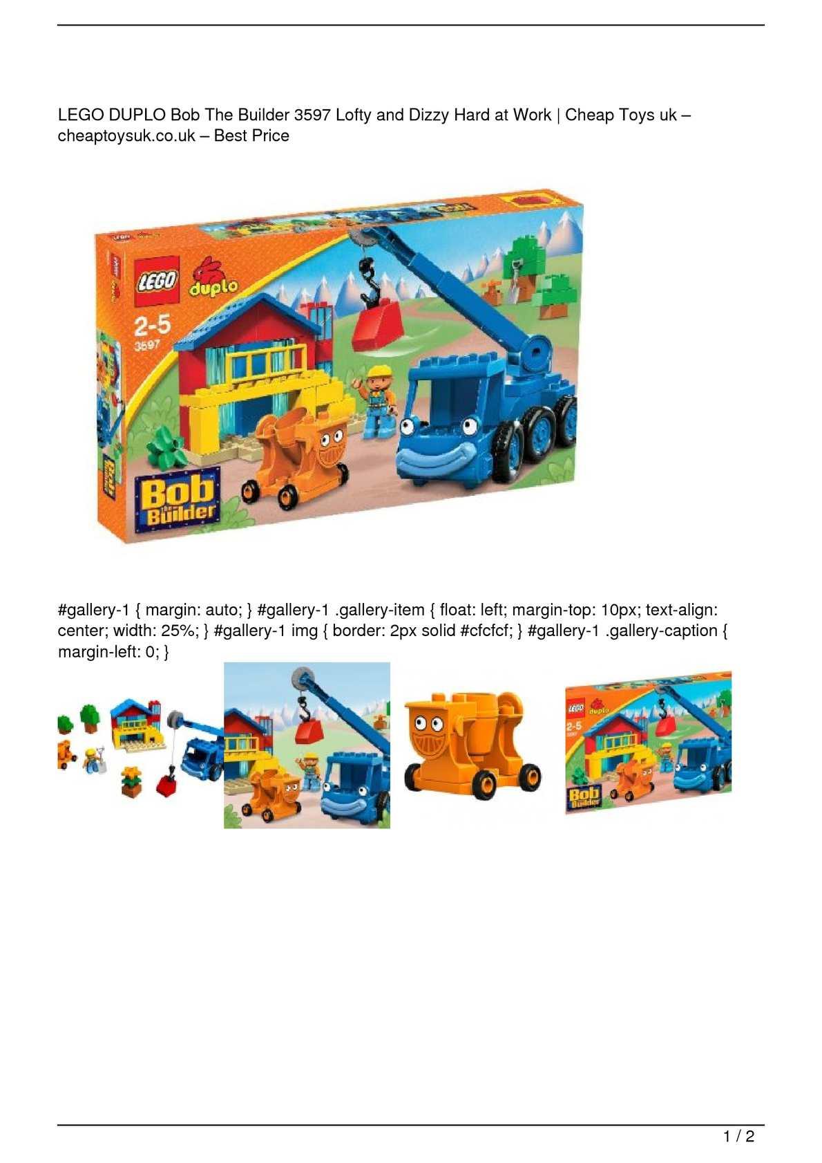 Calaméo Lego Duplo Bob The Builder 3597 Lofty And Dizzy Hard At