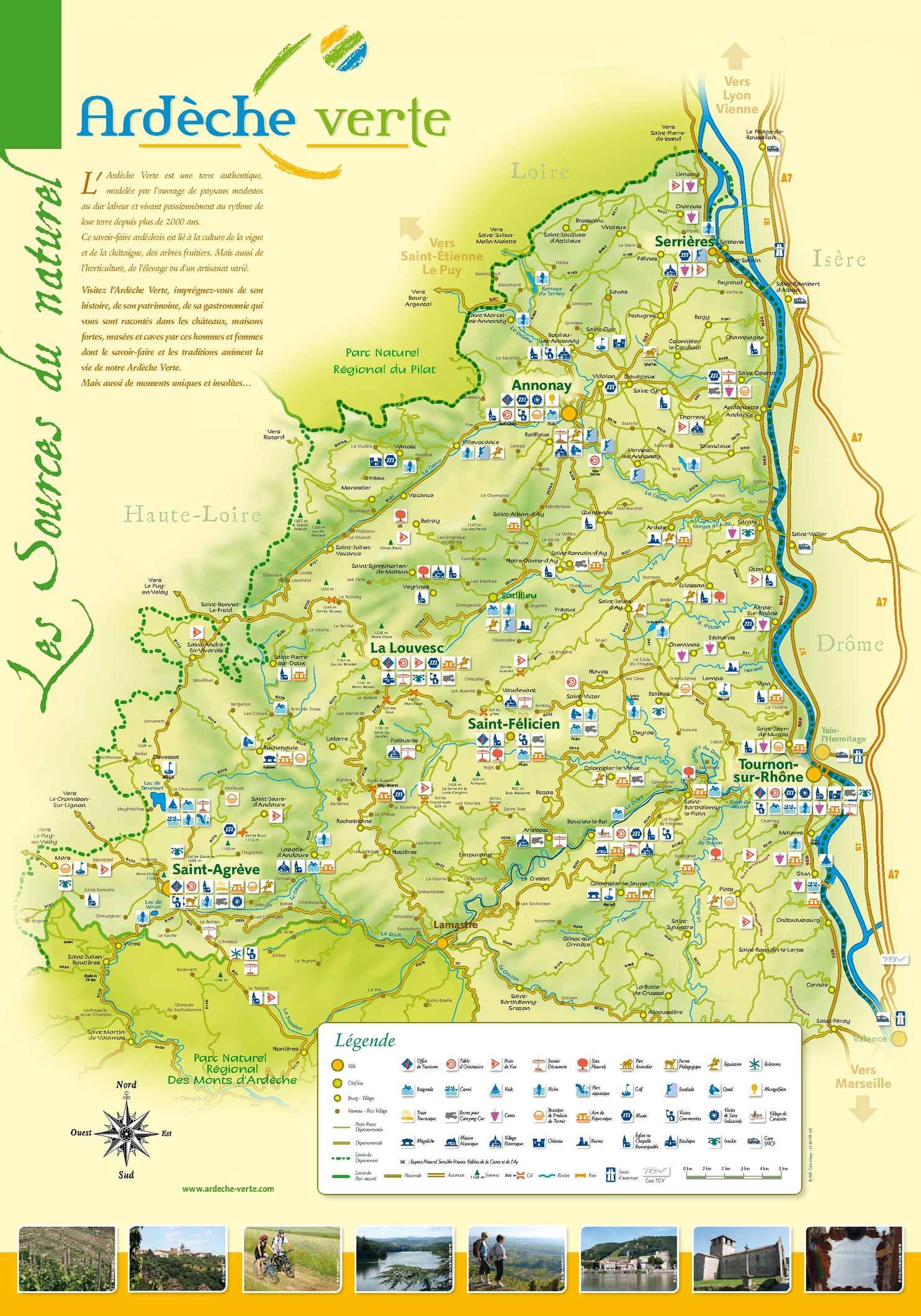Calam o carte touristique de l 39 ard che verte - Office du tourisme ardeche nord ...