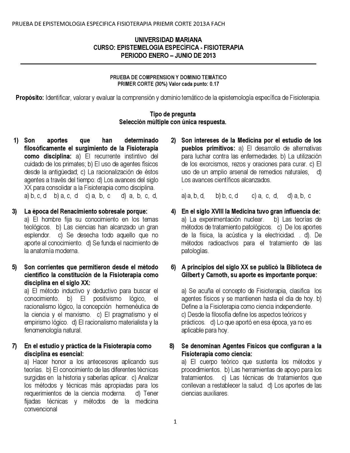 Calaméo - Test EPISTEMOLOGIA 1 CORTE FISIOTERAPIA