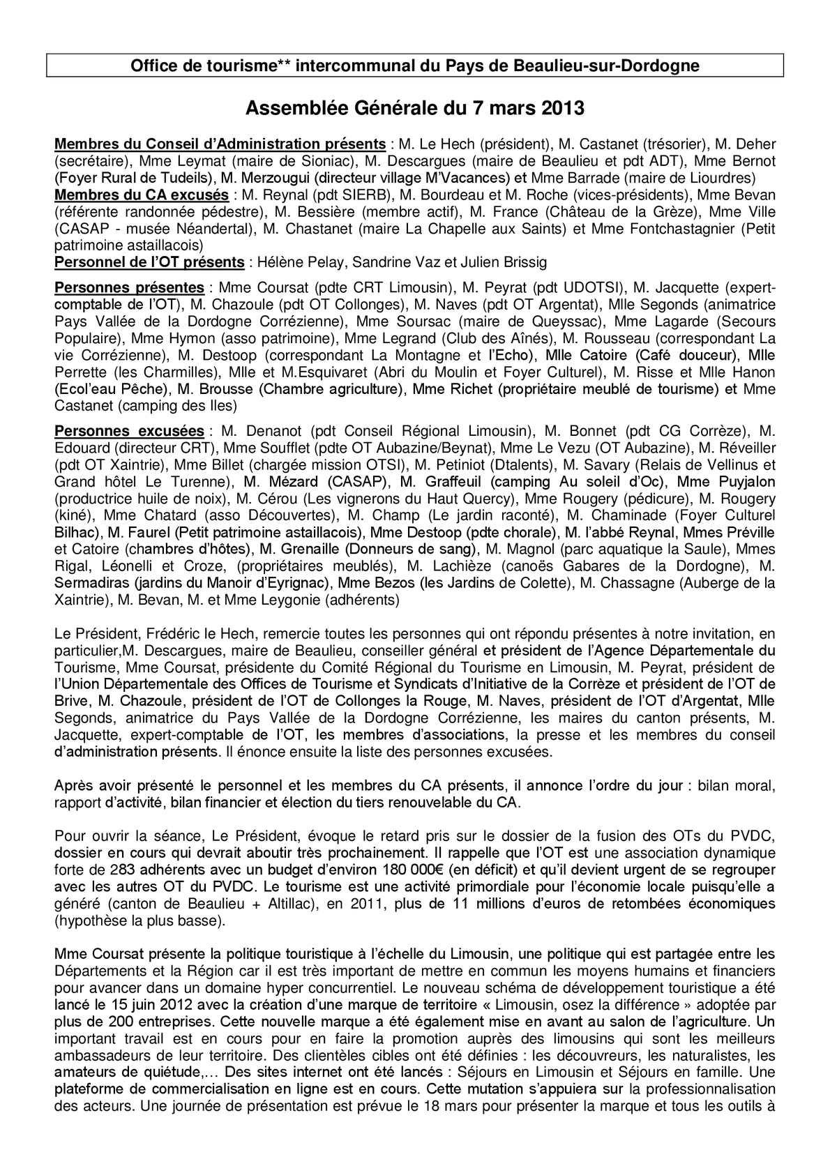 Calam o compte rendu ag - Office du tourisme beaulieu sur dordogne ...