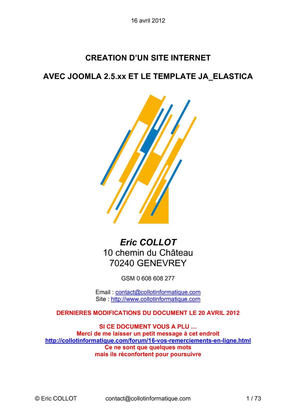 Création d'un site avec JOOMLA 2.5 et le template JA-ELASTICA