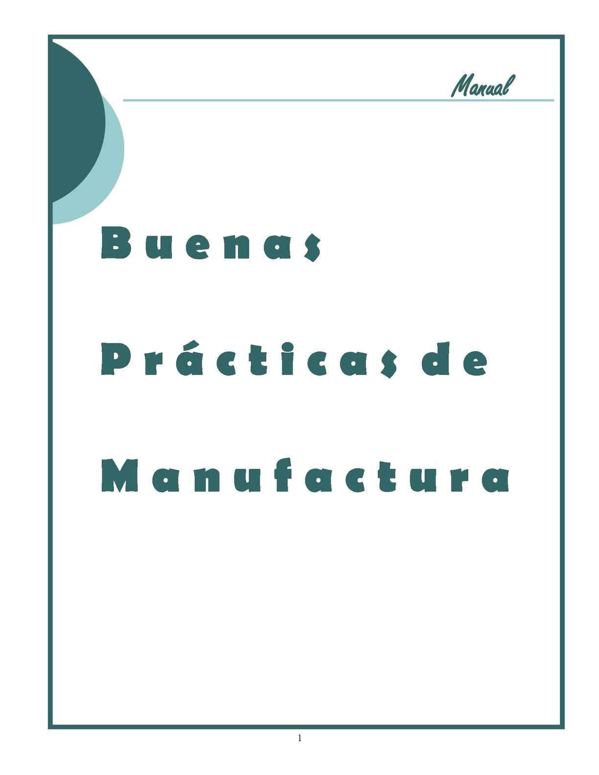 Manual Buenas Practicas de Manufactura