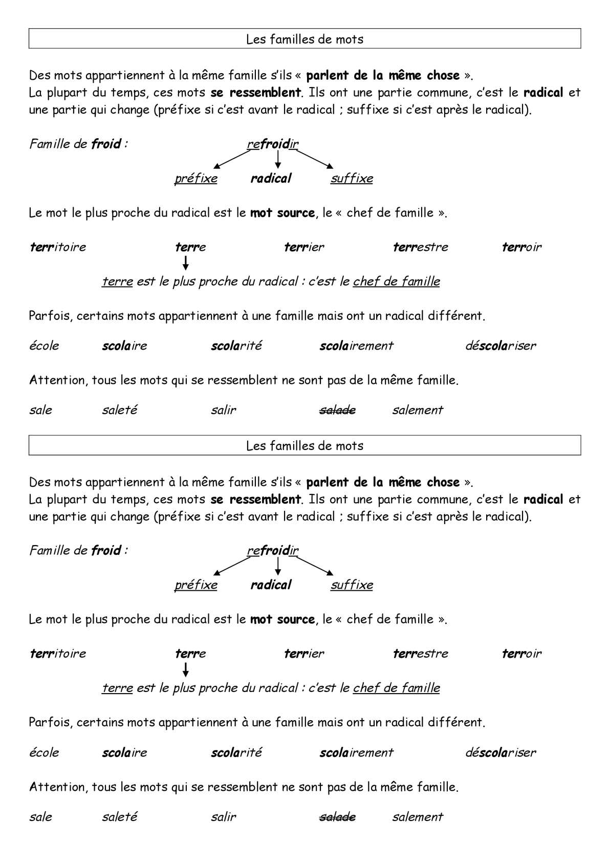 calam 233 o cycle 3 vocabulaire famille mots cours
