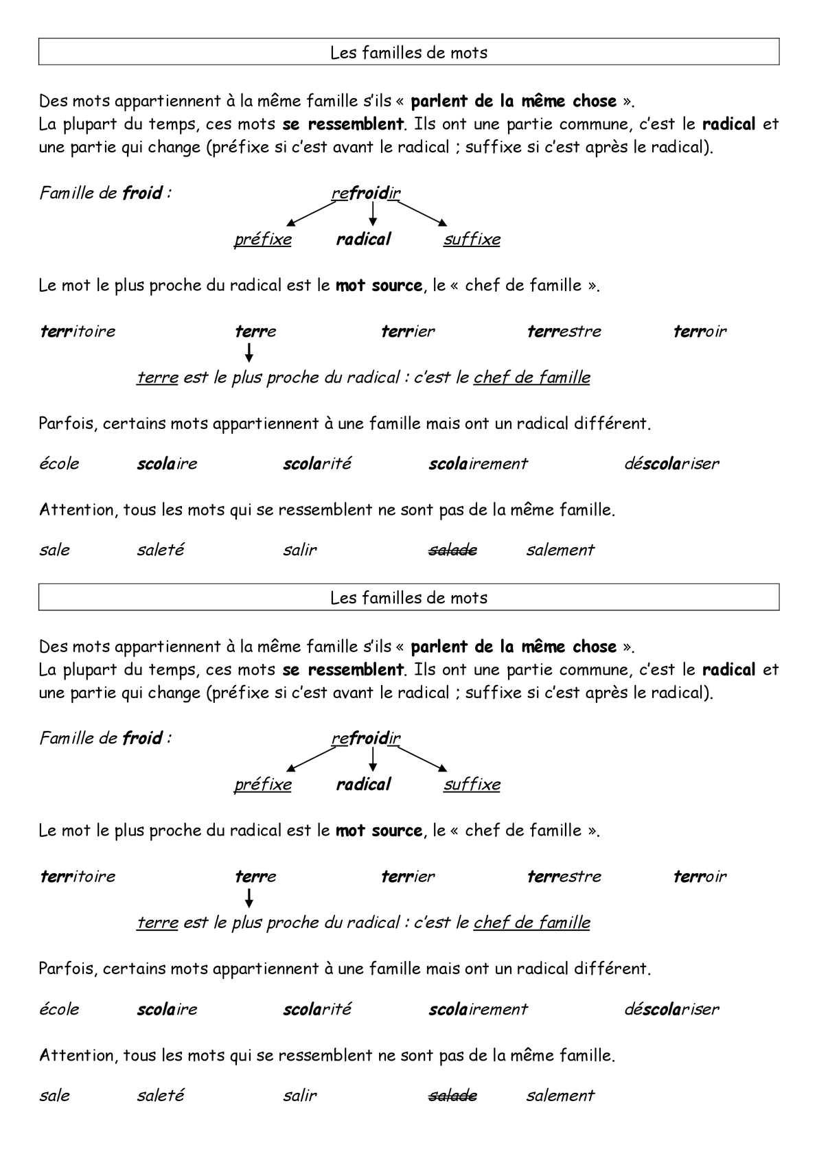 Calam o cycle 3 vocabulaire famille mots cours - Mot de la meme famille que fleur ...