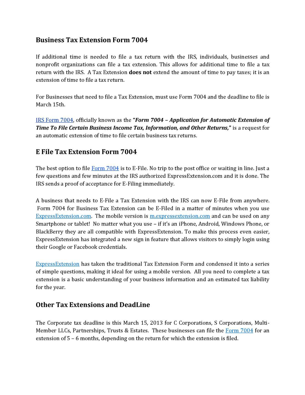 Calaméo - Business Tax Extension Form 7004 and the Deadline