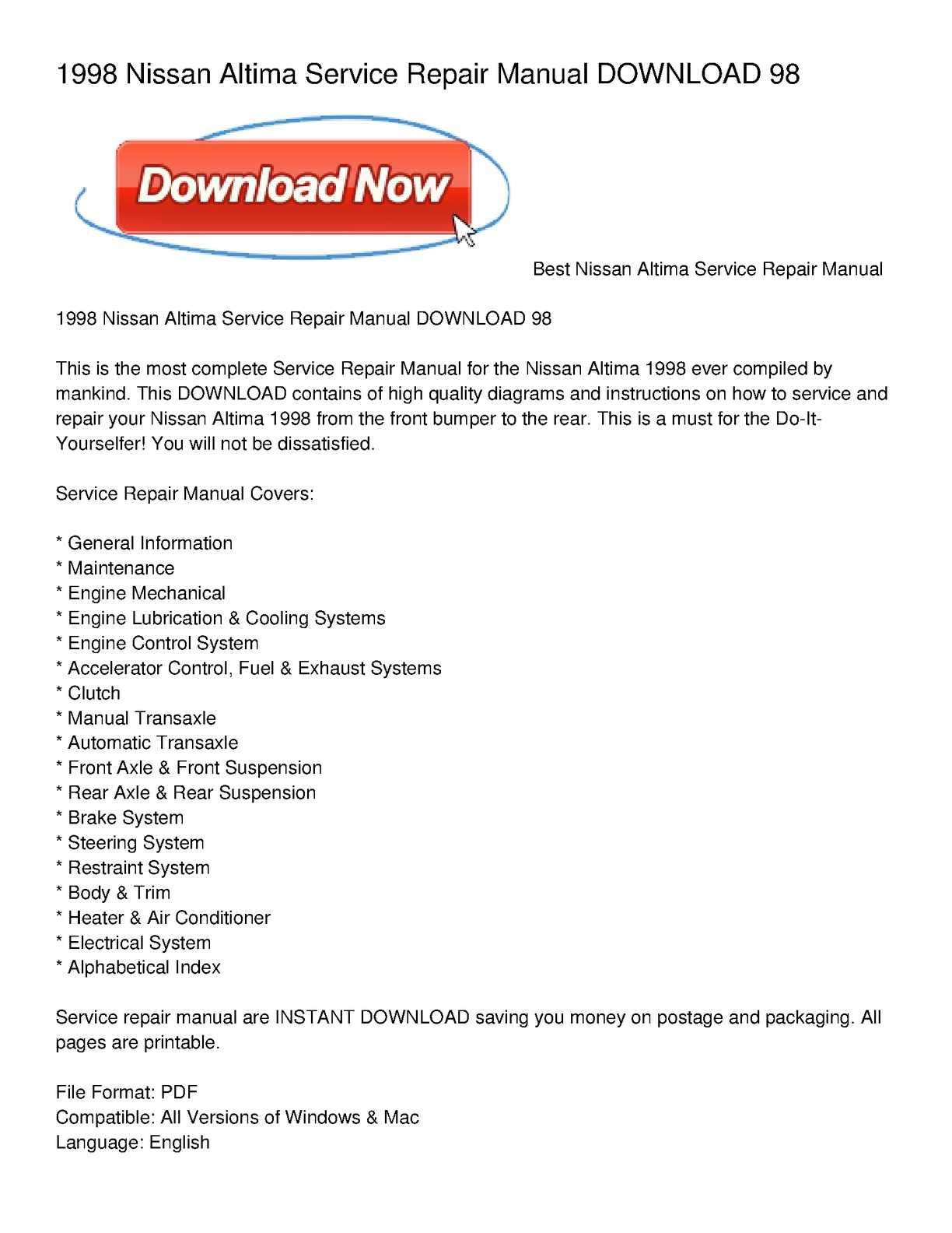 calam o 1998 nissan altima service repair manual download 98 rh calameo com 98 Nissan Altima Repair Manual 2001 Nissan Altima Owner's Manual