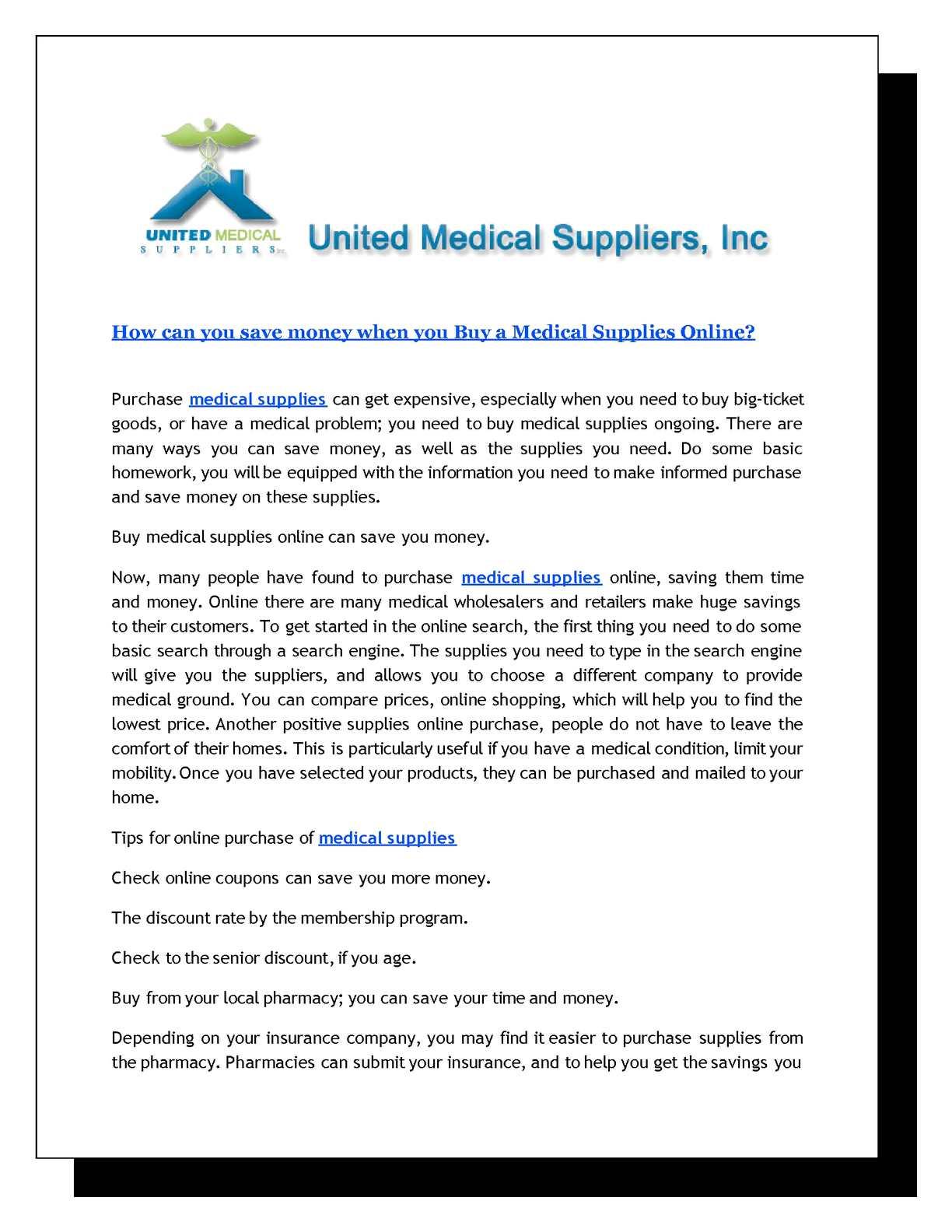 Where do you buy medical supplies 7