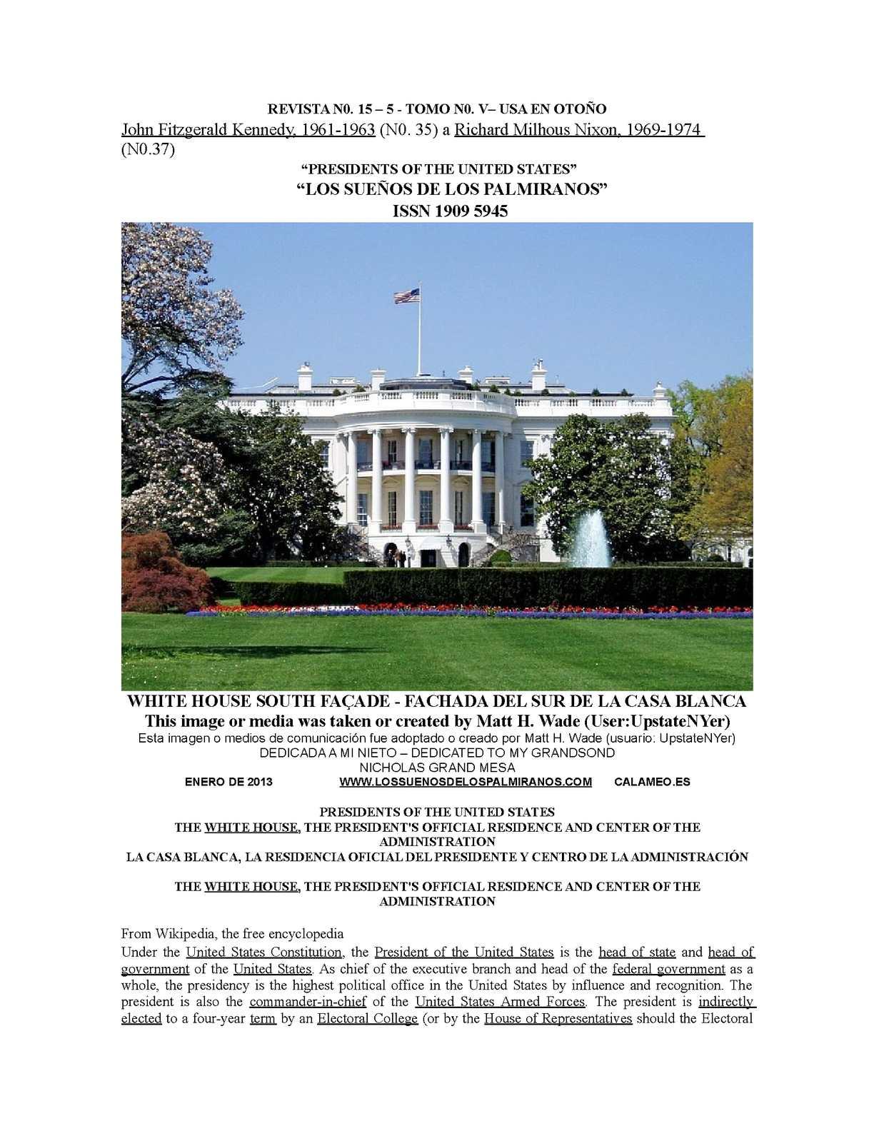Calaméo - REVISTA N0. 15 - 5 - TOMO V - PRESIDENTES USA - NOS. 35 a 37