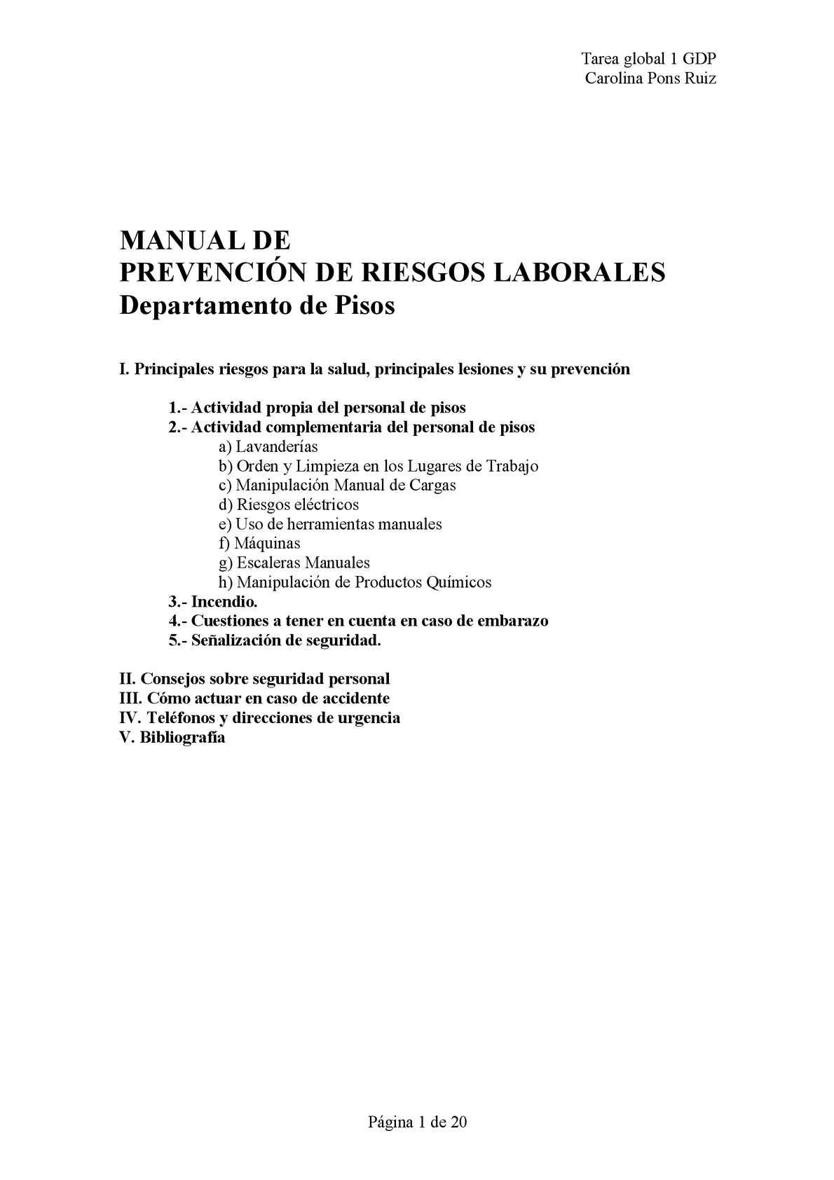 Calam o manual de riesgos laborales en el departamento for Plan de prevencion de riesgos laborales oficina