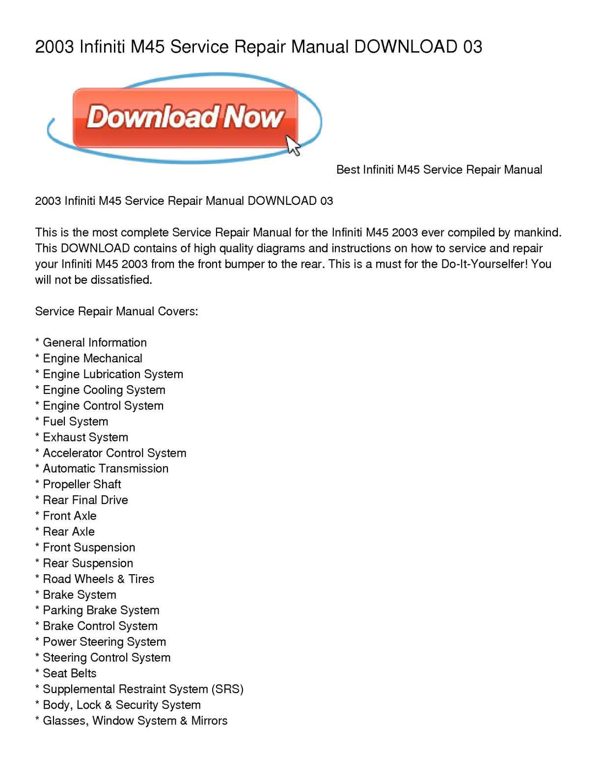 Infiniti M45 Engine Diagram Wiring Library 2003 Calamo Service Repair Manual Download 03