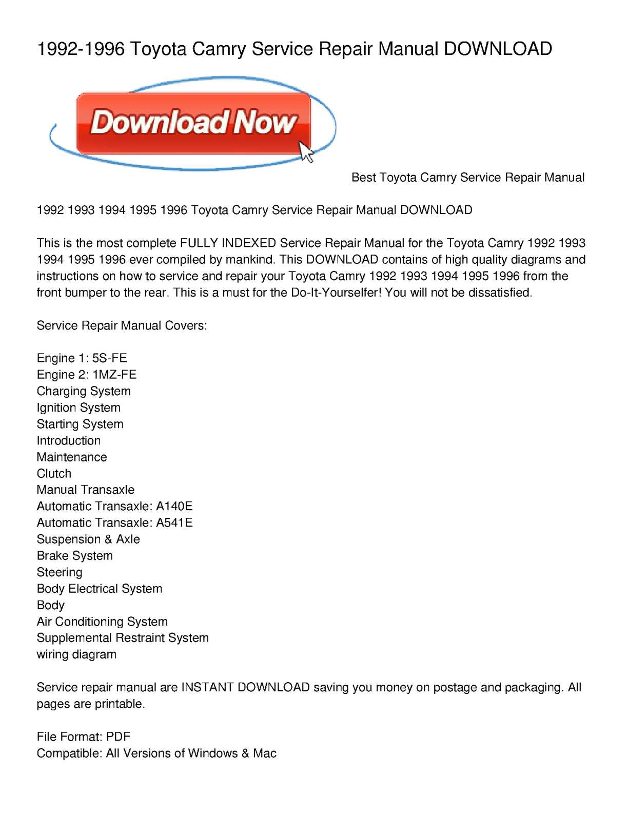 calaméo 1992 1996 toyota camry service repair manual