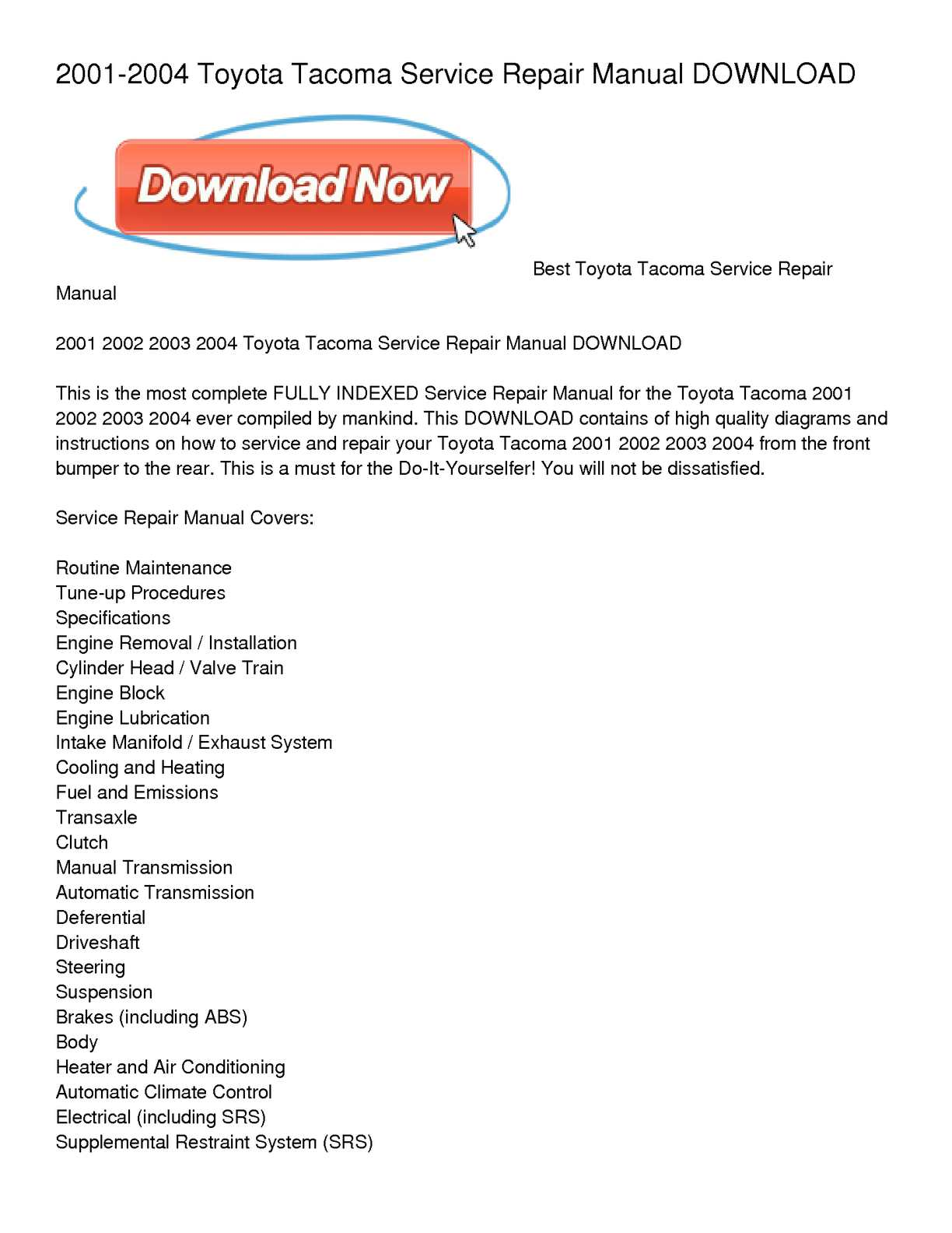2002 Tacoma Engine Diagram Wiring Library Calamo 2001 2004 Toyota Service Repair Manual Download