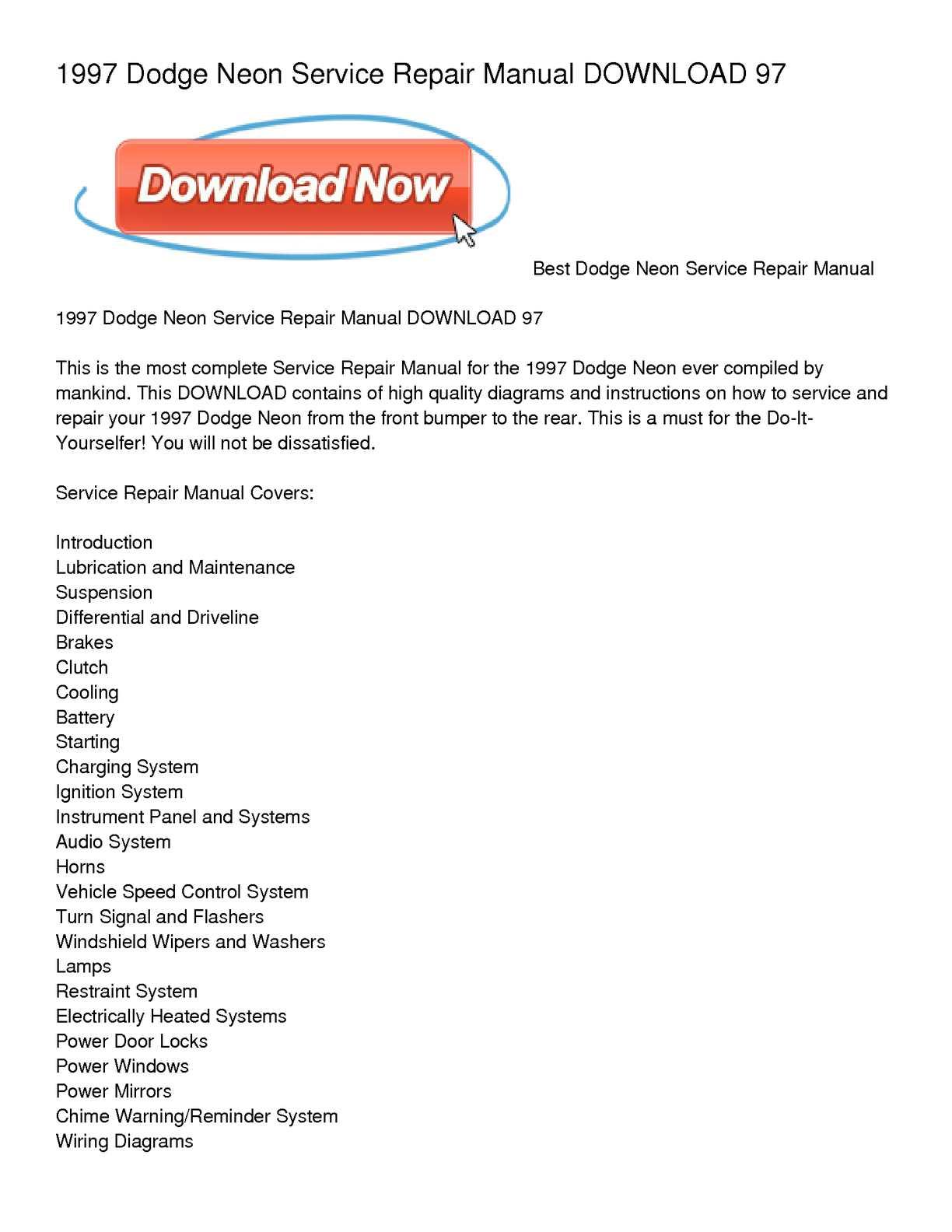 calam o 1997 dodge neon service repair manual download 97 rh calameo com  1994 Dodge Neon 1994 Dodge Neon