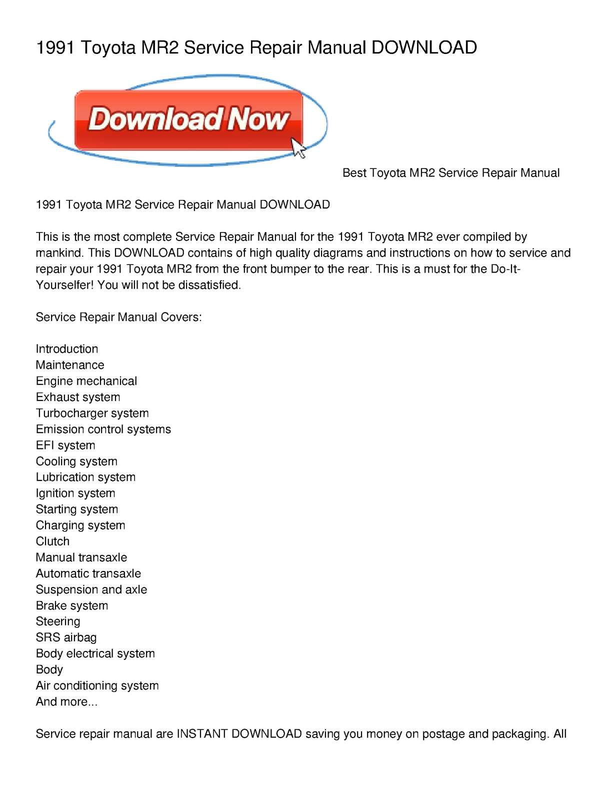 calam o 1991 toyota mr2 service repair manual download rh calameo com Toyota Celica 1991 toyota mr2 repair manual pdf free