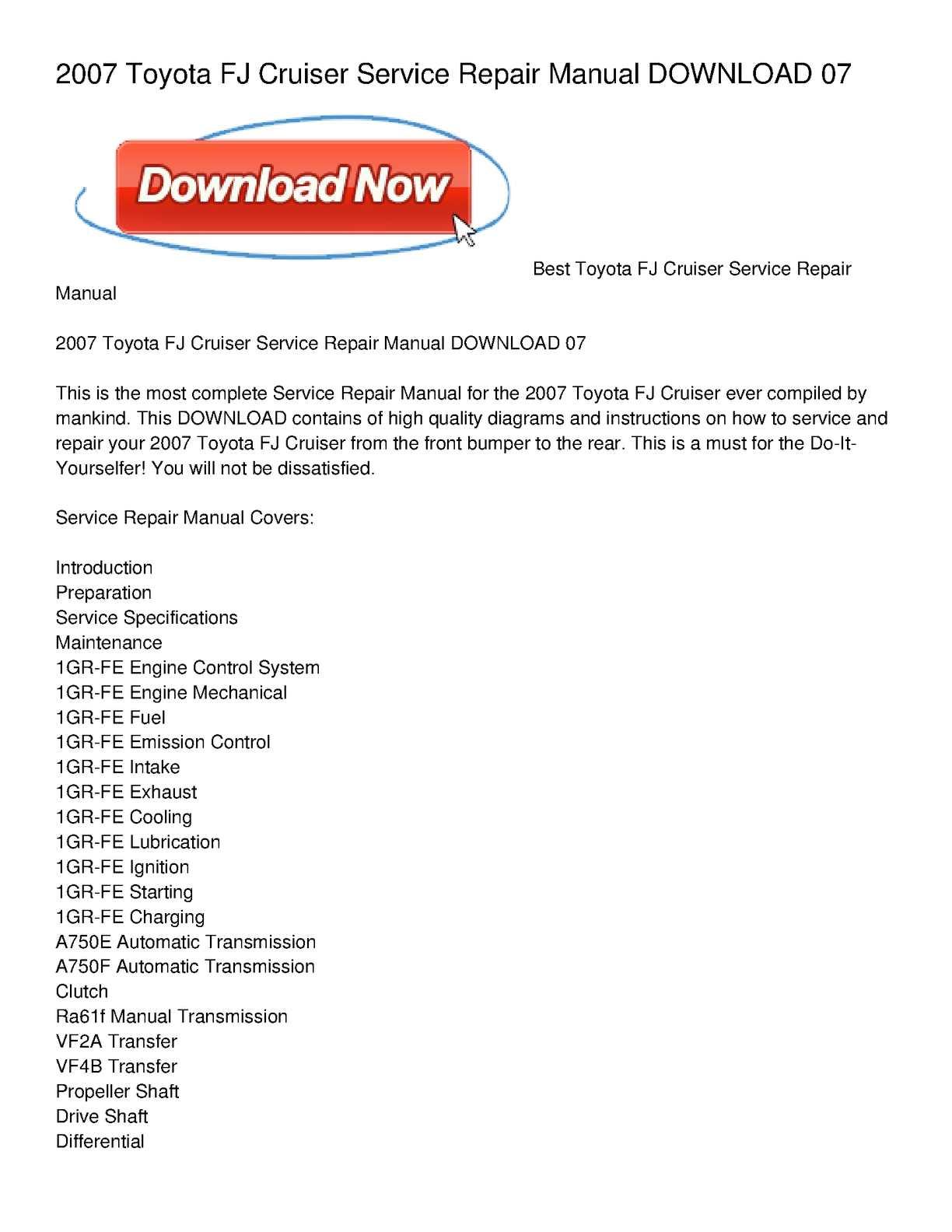 Calamo 2007 Toyota Fj Cruiser Service Repair Manual Download 07 Automatic Transmission Diagram On Mechanical