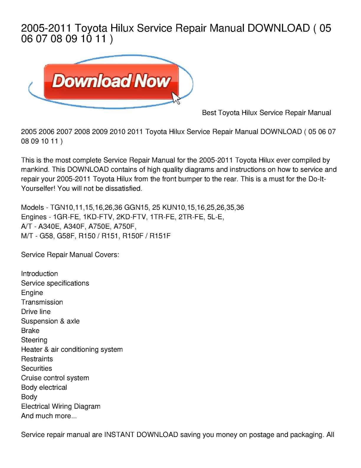 Calaméo - 2005-2011 Toyota Hilux Service Repair Manual DOWNLOAD on motor diagrams, hvac diagrams, troubleshooting diagrams, honda motorcycle repair diagrams, electrical diagrams, series and parallel circuits diagrams, engine diagrams, pinout diagrams, internet of things diagrams, switch diagrams, electronic circuit diagrams, snatch block diagrams, smart car diagrams, friendship bracelet diagrams, battery diagrams, transformer diagrams, lighting diagrams, sincgars radio configurations diagrams, led circuit diagrams, gmc fuse box diagrams,