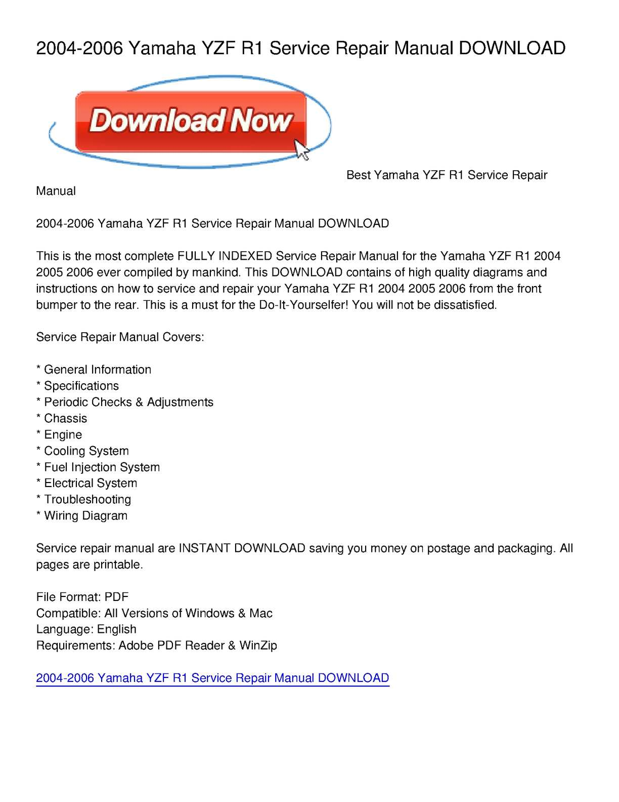 calam o 2004 2006 yamaha yzf r1 service repair manual download rh calameo com 2003 R1 2006 yamaha r1 service manual