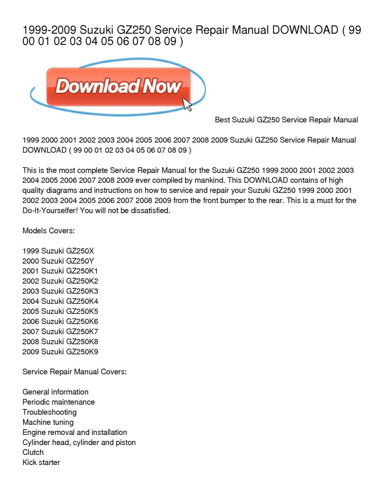 Suzuki 2004 Gz250 Wiring Diagram Trusted Gsx600f Calam O 1999 2009 Service Repair Manual Download Rh Calameo Com Specs