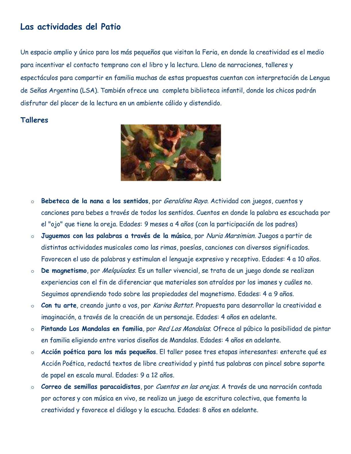 Calaméo - LAS ACTIVIDADES DEL PATIO (FERIA DEL LIBRO)