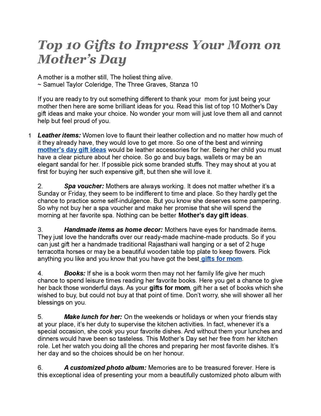 Calameo Top 10 Gifts To Impress Your Mom On Mother S Day