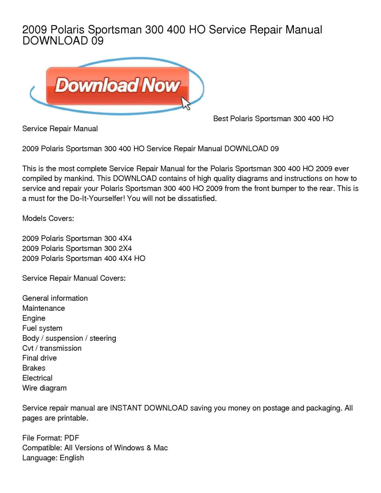 polaris ranger 400 ho service manual