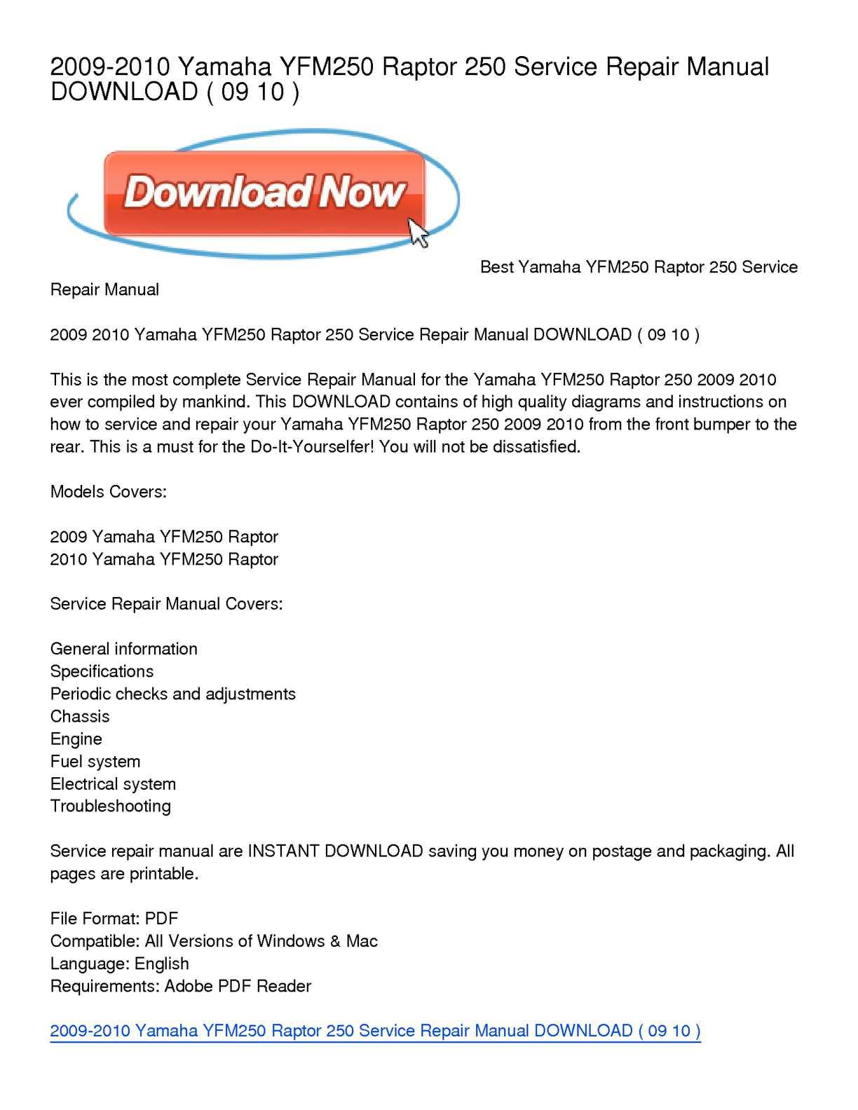Calamo 2009 2010 Yamaha Yfm250 Raptor 250 Service Repair Manual Yfm Wiring Diagram Free Picture Download