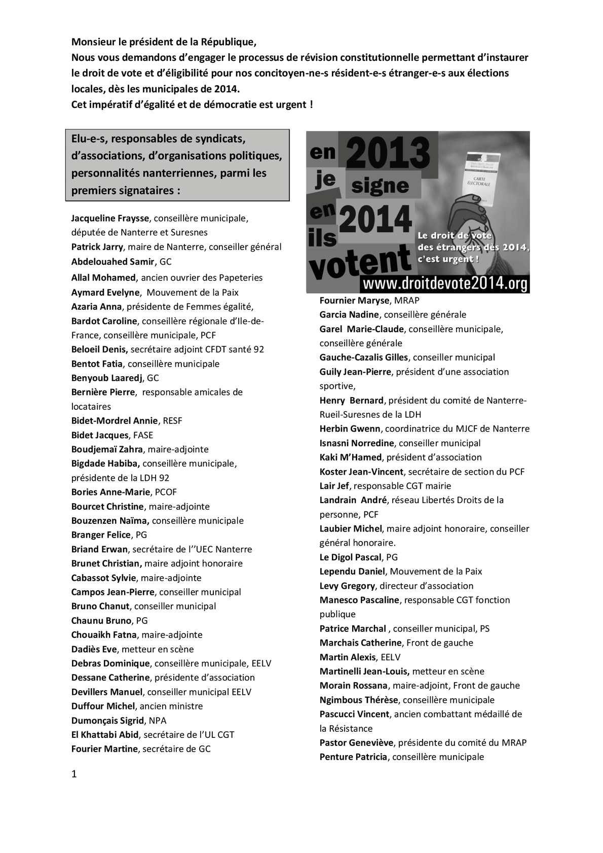 Calam o parmi les 500 premiers signataires nanterriens for Papeterie beloeil