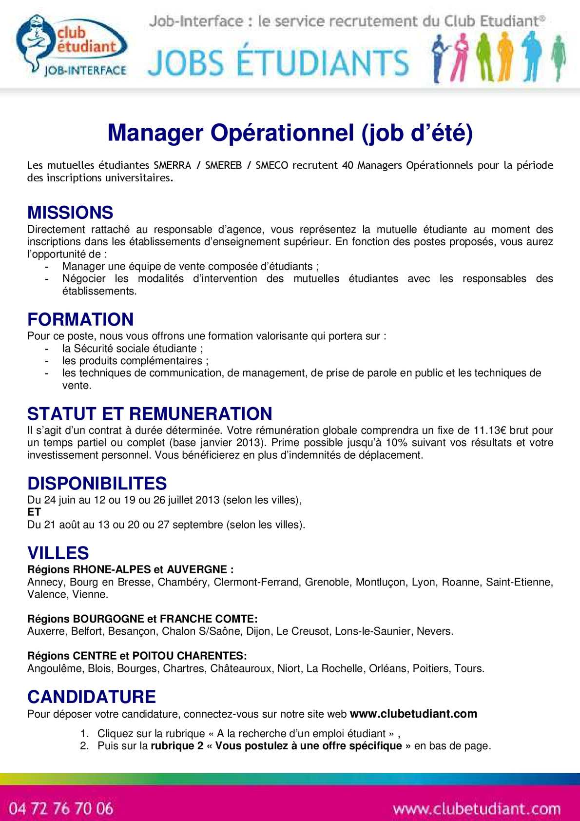 Calaméo - Fiche de poste Manager Opérationnel 2013 SMECO