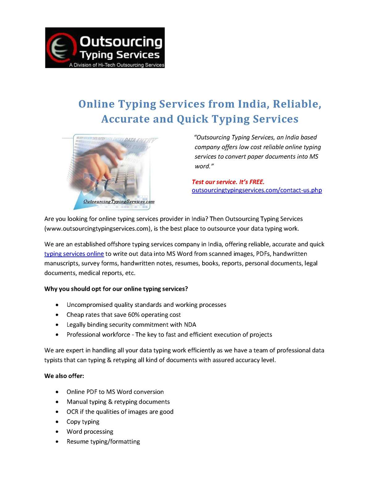 Calaméo - Online Typing Services from India, Reliable, Accurate ...