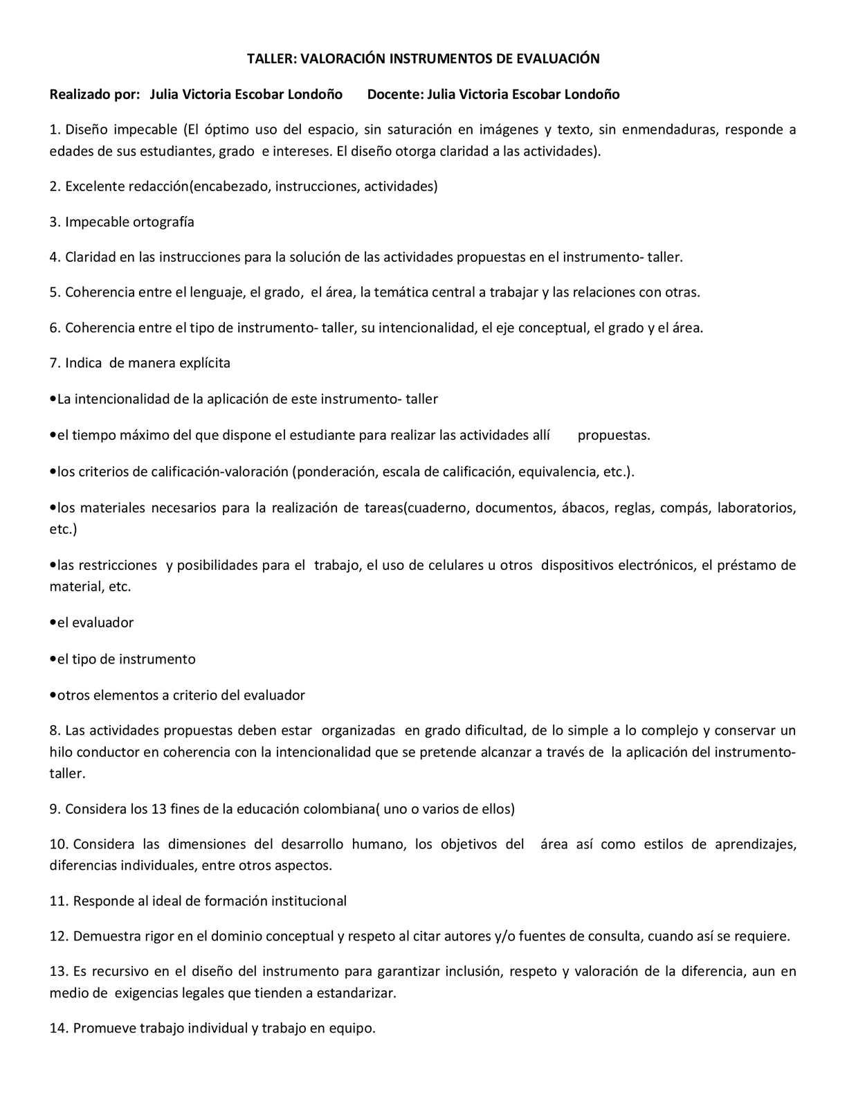 INSTRUMENTO DE EVALUACIÓN de taller