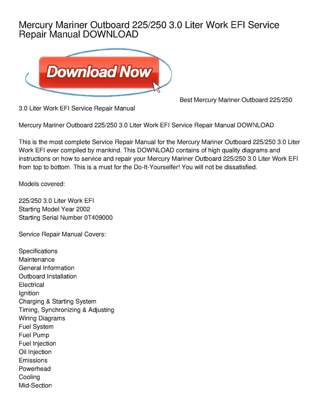 Calamo Mercury Mariner Outboard 225 250 30 Liter Work Efi 4 3 Mercruiser Wiring Diagram Service Repair Manual Download