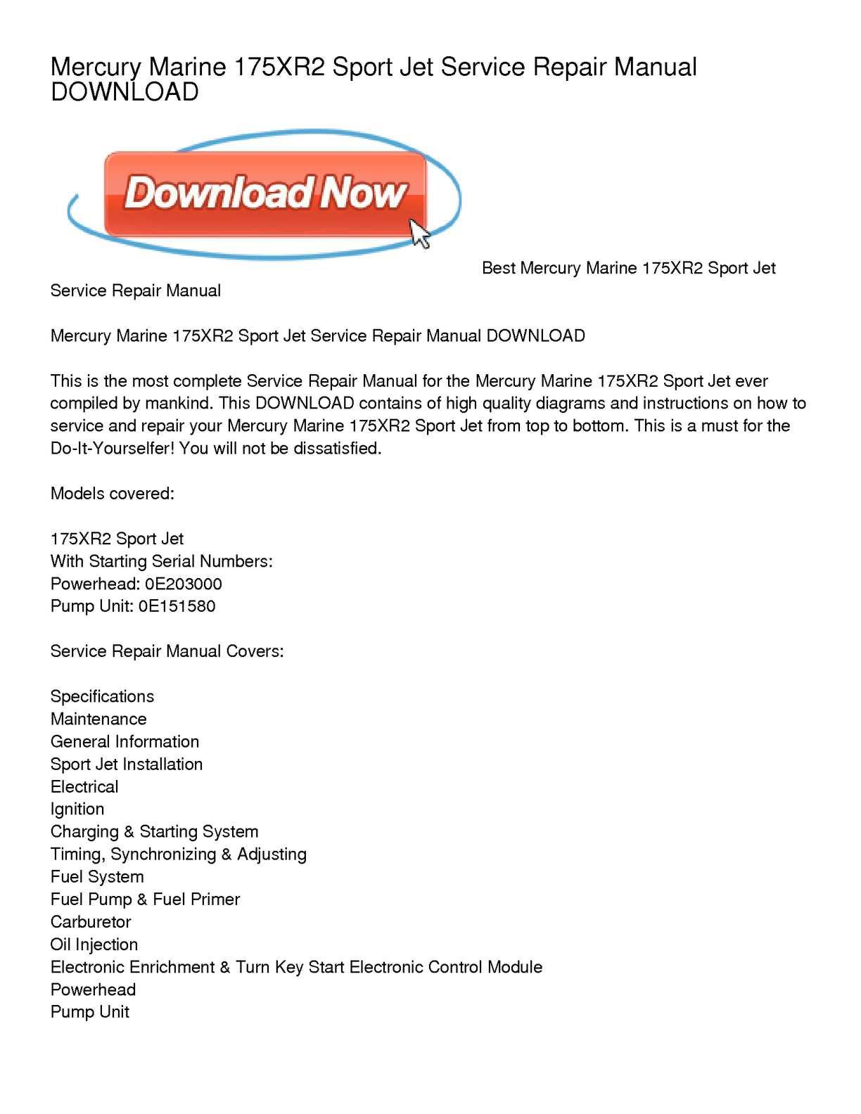 calam o mercury marine 175xr2 sport jet service repair manual download rh calameo com mercury sport jet 90 manual download mercury 175 sport jet manual