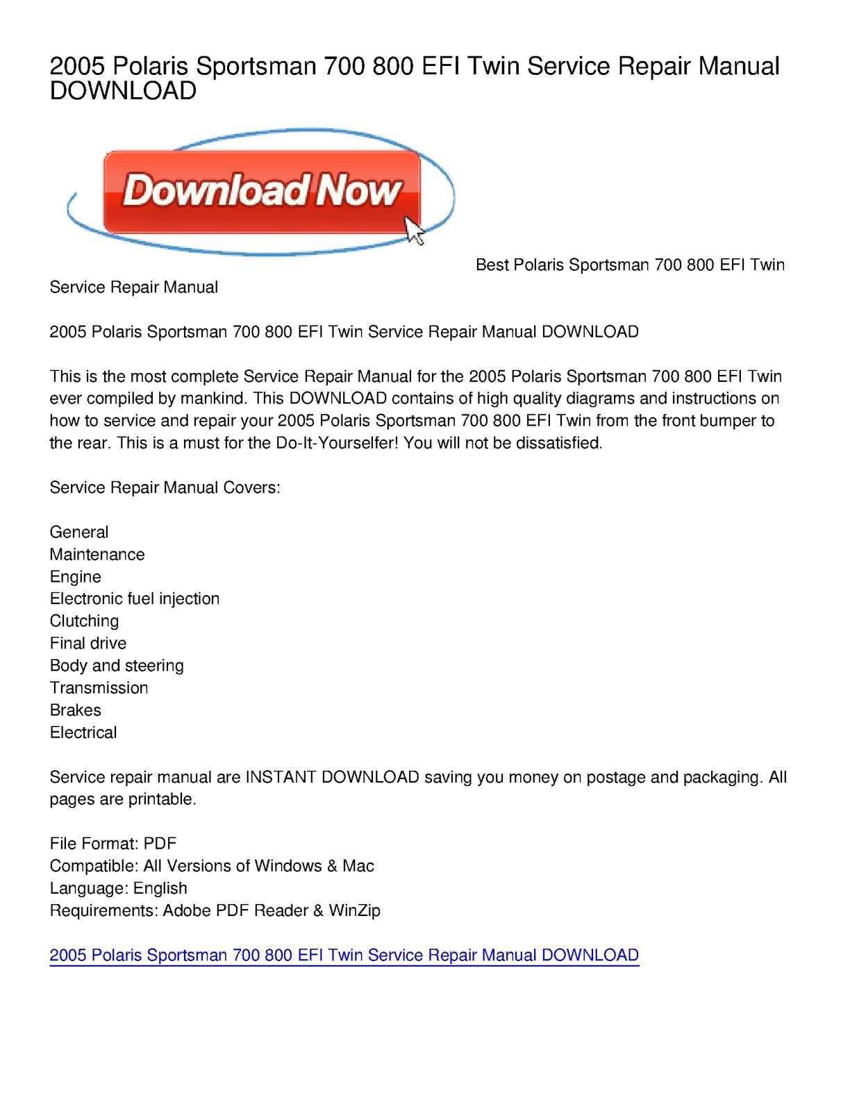 Calamo 2005 Polaris Sportsman 700 800 Efi Twin Service Repair Wiring Diagram Manual Download