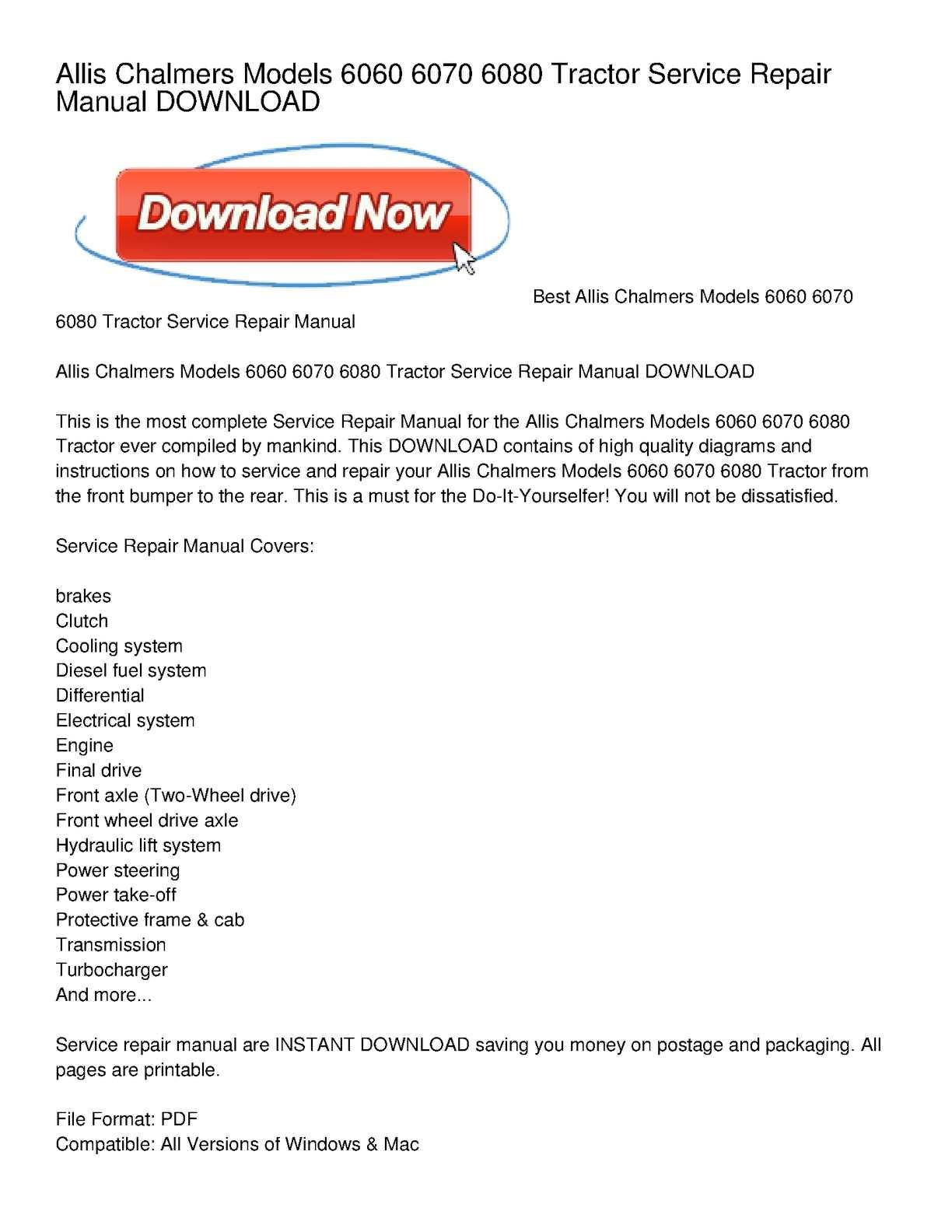Calamo Allis Chalmers Models 6060 6070 6080 Tractor Service Lawn Mower Wiring Diagram Repair Manual Download