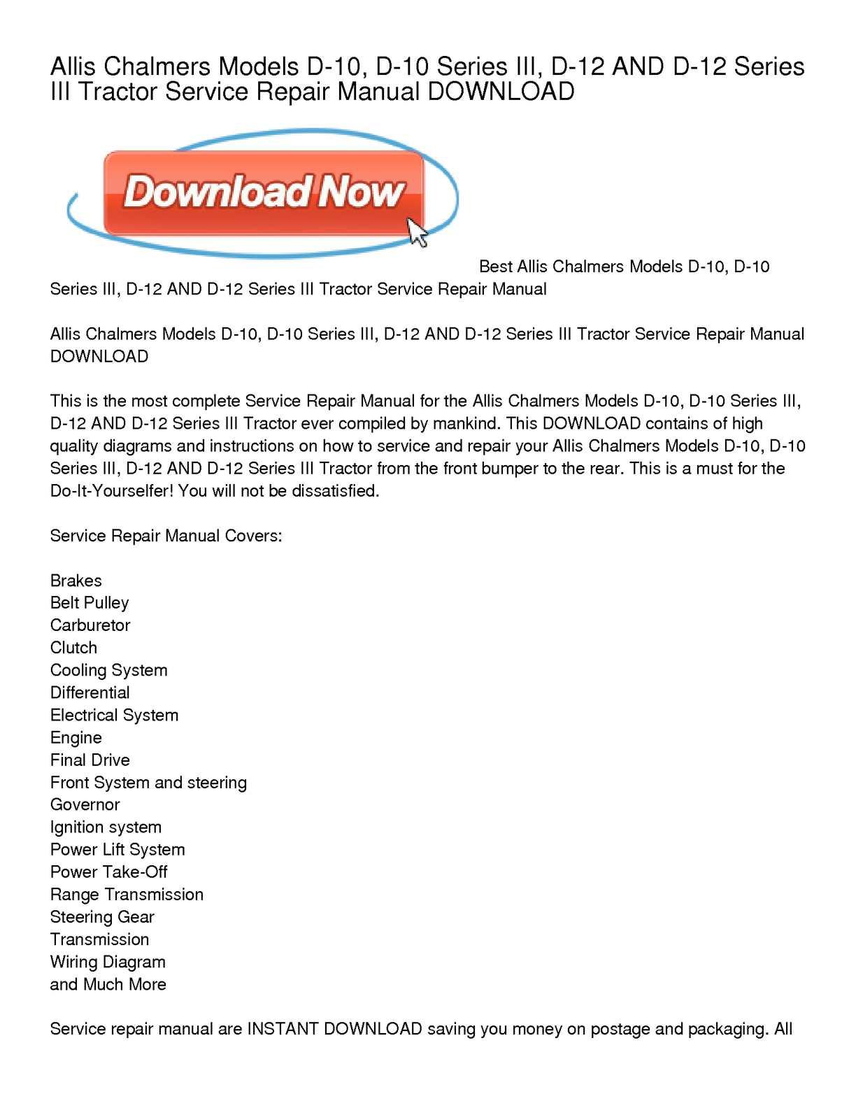 Calamo Allis Chalmers Models D 10 Series Iii 12 And Lawn Mower Wiring Diagram Tractor Service Repair Manual Download